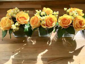 MODERN SET OF 3 YELLOW ROSE & BERRIES GLASS CUBE  FAUX FLOWERS ARRANGEMENTS