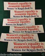 (Six) Vintage '84 Women for Reagan Bush CAMPAIGN BUMPER STICKER Economic Freedom