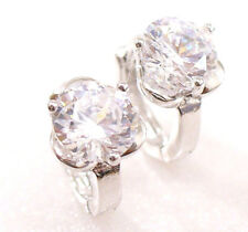 Women fashion Simulated Diamond White Gold Plated 6mm Flower Hoop Earrings
