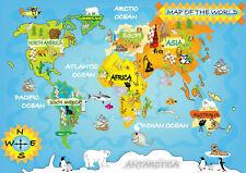 Childrens World Map Poster A5..A4..A3..A2.. A1.. OPTIONS