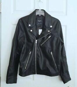 ABERCROMBIE Mens Genuine Leather Moto Biker Jacket Black (Medium) NEW $400