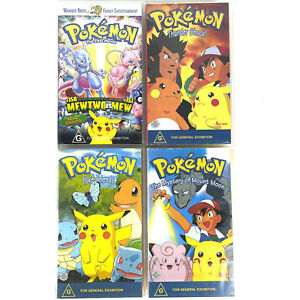 4x Pokemon VHS Video Tapes First Movie, Mount Moon, Poke-Friends & Thunder Shock