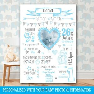 A3 Personalised PHOTO Birth Details BABY SHOWER Picture Gift, Nursery Art POSTER
