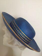 20427ec0 Womens Blue & Gold Hat Wide Brim Bowler Cerulean Azure Royal Unbranded 21 7/ 8