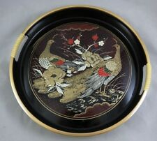 Vtg Japanese Black Lacquerware - Round Serving Tray - Peacock Birds / Flowers