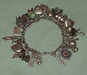 Vintage Sterling Silver Charm Bracelet Puffy Hearts Movable Western 29 Charms