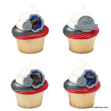 JURASSIC WORLD 2 Movie Party CUPCAKE Birthday Dinosaurs Decoration Rings 12 PCS