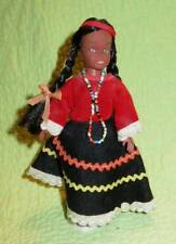 """Vintage 1970s NATIVE AMERICAN Squaw 7"""" Doll Collector Indian Souvenir Girl *Flaw"""