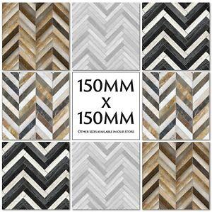 Herringbone Chevron Pattern Tile Stickers Decals Kitchen Transfers 150mm M47