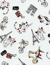 """Paris Cats Cartoon French France Eiffel Tower Timeless Treasures Fabric 29"""""""