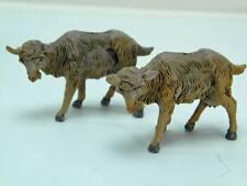 PRESEPIO FONTANINI caprette capre 2 vecchie statuine plastica Nativity