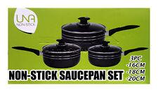 3PZ ANTIADERENTE Cookware Set Saucepan POT con coperchi battenti Induzione Pan NERO P16
