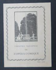 Programme Théâtre National de L'Opéra Comique Paris 28 mars 1922 / Werther