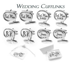 Personalised Round Silver Mirror Acrylic Wedding Cufflinks Silver Plated Base