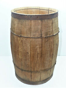 Vintage Wire Wrapped Wooden Nail Keg/Barrel INV15121