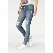 Please P08I Please Jeans Skinny-fit Hose Ausgefranster Saum Mid Blue Neu Gr. XL