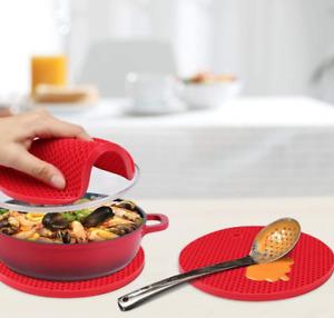 Set Sottopentola presina in silicone da cucina kit 4 pezzi red