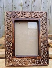 Indian Hand Carved Made Mango Wood Wooden Bird Leaf Carving Photo Display Frame