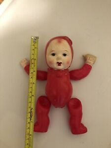Vintage Occupied Japan Red Celluloid Strung Doll With Bottle Needs Restrung 8""