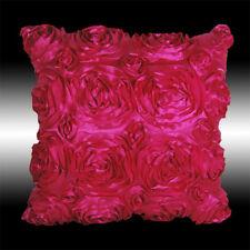 "ELEGANT HOT PINK 3D RAISED ROSES FAUX SILK CUSHION COVER THROW PILLOW CASE 16"""