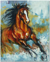 Running Horse -  Hand Painted Modern Impressionist Horse Oil Painting On Canvas