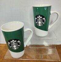 Starbucks Mermaid Siren Logo Tall 16oz Ceramic Coffee Cup/Mug Set Of Two New