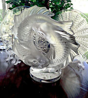 Lalique Crystal Deux Poissons Double Fish Sculpture Signed, Authentic, Mint