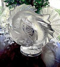 Lalique Crystal Deux Poissons Double Fish Sculpture Signed, Authentic, Mint
