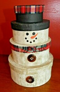 Set of 4 Stackable Fiberboard Nested Round Cookie Gift Boxes CHRISTMAS SNOWMAN