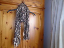 Cosy brown and cream toned eyelash scarf with tassels