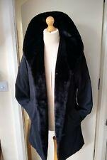 Essentials OverCoat Ladies Faux Fur Trim  Womens Coat Size 12/14 Black Lovely!