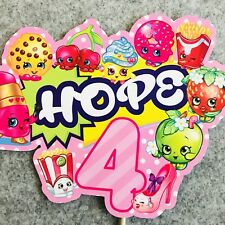 Shopkins PERSONALISED Cake Topper.  Lolly Bag Party Supplies Deco Cake Custom