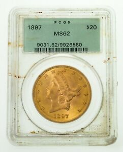 1897 $20 Gold Liberty Double Eagle Coin Graded by PCGS as MS-62! Old Holder!