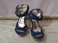Ladies *MODA IN PELLE* stilettos blue suede leather gold heel UK 6 worn once.