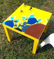 Hand-painted resin refinished Table - UNIQUE piece