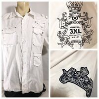 Parish Nation Men's Shirt 3XL Button Down White Embroidered Logo Military
