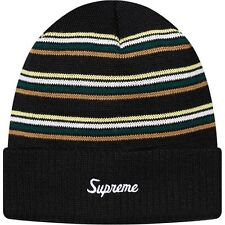 SUPREME Multi Striped Beanie Black big box logo camp cap comme F/W 15