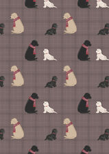 Fat Quarter Dogs on Soft Brown Check Westies 100% Cotton Quilting Fabric