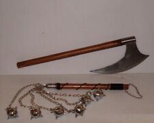 "27"" Medieval Bearded Large Blade Viking Battle Axe +6 Ball Battle Mace,Free Ship"