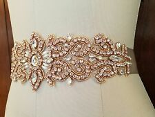 "Wedding Bridal Sash Belt, ROSE GOLD Crystal Pearl Wedding Sash Belt = 11"" LONG"