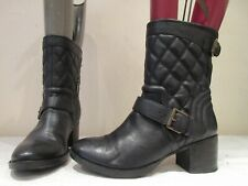 CLARKS BLACK LEATHER PULL ON STACKED HEEL BOOTS UK 5 D (3361)