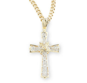 "Gold Over Sterling Silver Crystal Cubic Zirconia 1"" Cross Pendant +18"" Chain"