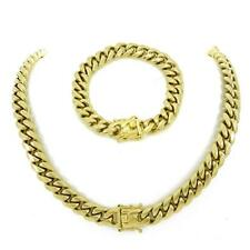 12mm Mens Miami Cuban Link Bracelet & Chain Set 14k Gold Over Stainless Steel