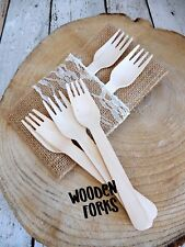 100 Forks Disposable Party Wooden Cutlery Packs Camping Eco Picnic Catering
