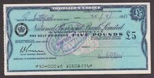 National Provincial Bank Travelers Cheque - 5 Pound - 1956 Used - Old Rare