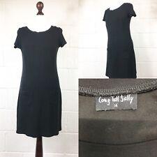 Long Tall Sally Black Dress Pockets A Line Stretchy Autumn Work UK12-14 (B2)