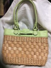 "Liz Claiborne hand bag purse corn husk straw Pale Pastal Green leather Bow  9""x10 fae889a1d2764"