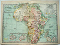 Colonial Africa - Original 1902 Map by The Century Company. Antique