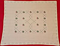 VINTAGE AUTHENTIC FLORAL ART ROSES HAND EMBROIDERY WHITE PINK COTTON TABLECLOTH