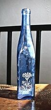 """Vintage Blue Glass Bottle PEAR Embossed 11"""" Vase Decorative Floral Boho UNIQUE"""